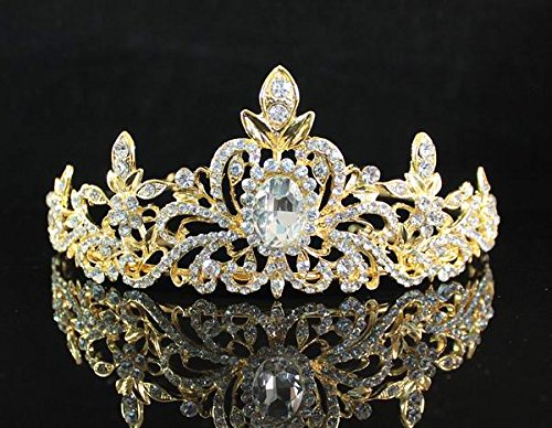 Gold Tone Crown (Janefashions Loyal Austrian Rhinestone Tiara Crown Headband Bridal Wedding Prom T1402 Gold)