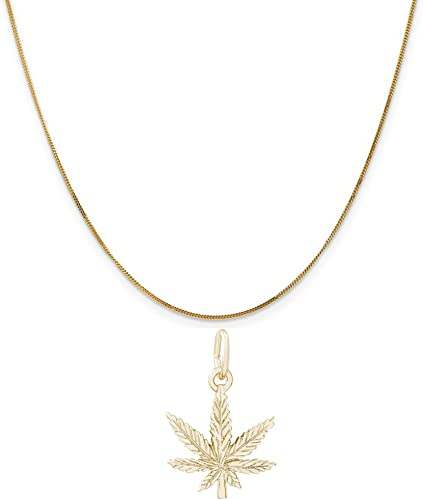 Box or Curb Chain Necklace Rembrandt Charms Two-Tone Sterling Silver Marijuana Leaf Charm on a Sterling Silver 16 18 or 20 inch Rope