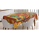 Ambesonne 70s Party Decorations Tablecloth by, Hippie Vintage Mini Van Ornamental Backdrop Peace Sign, Dining Room Kitchen Rectangular Table Cover, 60 W X 90 L Inches, Coral Orange Turquoise