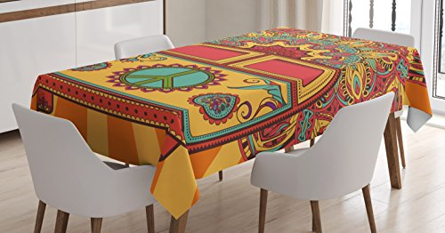 Ambesonne 70s Party Decorations Tablecloth, Hippie Vintage Mini Van Ornamental Backdrop Peace Sign, Dining Room Kitchen Rectangular Table Cover, 52 W X 70 L Inches, Coral Orange