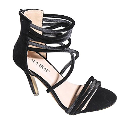 Hibote Women Sandals High Heel Kitten Peep Toe Ladies Lace up Zip Ankle Strap Party Strappy Sandals Black