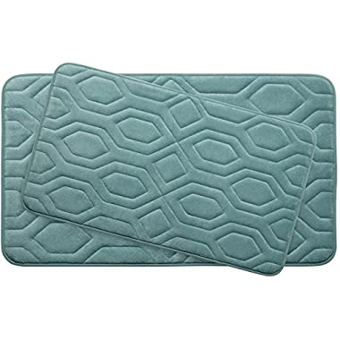 Bounce Comfort Extra Thick Memory Foam Bath Mat Set - Turtle Shell Premium Plush 2 Piece Set with BounceComfort Technology, 20 x 32 in. Marine Blue