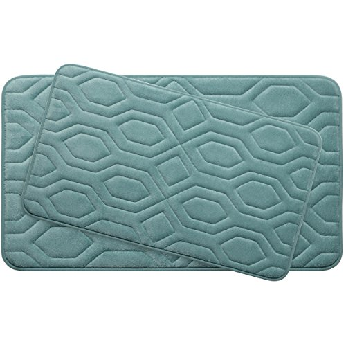 Bounce Comfort Extra Thick Memory Foam Bath Mat Set - Turtle Shell Premium Plush 2 Piece Set with BounceComfort Technology, 20 x 32 in. Marine Blue -  Creative Home Ideas, YMB003756