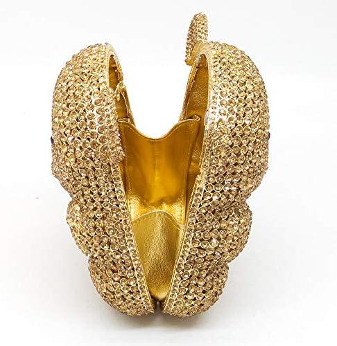 XLJJB Or 3D Forme De l'ours Femmes Cristal Soirée d'embrayage Sacs À Main Minaudière Dames Mini Parti Sac À Main De Mariage Sac Petite Embrayage Couleur 4