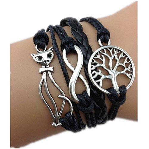 JOVANA Retro Vintage Handmade Cat Infinity Love Wish Tree Black Leather Rope Wrap Bracelets (Black)