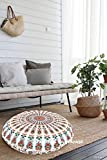 TEXTILE&CRAFT HOUSE Decorative Mandala Round Floor Pillow Cushion Cover Pouf Cover Indian Bohemian Ottoman Poufs Cover With Pom Pom outdoor Cushion Cover (Style -3)