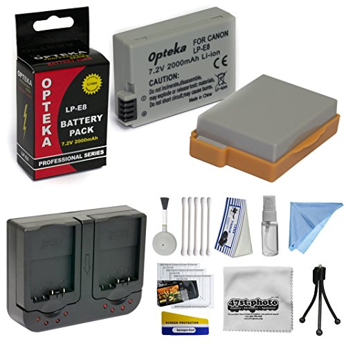 2 Extended Life Replacement Battery Packs For the Canon LP-E8 LPE8 2000MAH Each 4000MAH in Total For The Canon EOS Rebel T2i T3i T4i T5i 550D 600D 650D 700D Kiss X4 X5 X6 X6i X7i DSLR Digital Camera, 2 Batteries In Total + 1 hour AC/DC Dual Battery Rapid  by Opteka