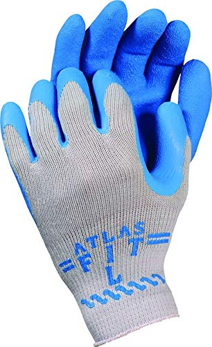 ATLAS Fit 300 Showa Latex Palm-Dipped Blue Large Rubber Work Gloves, 24-Pairs