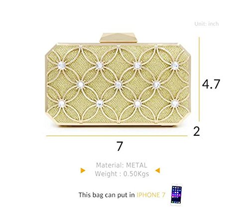 for Metallic Women Glitter Purses and Floral Bridal Clutches Clutch Crytals with Handbags Bags Black Pattern and Evening qUwY05