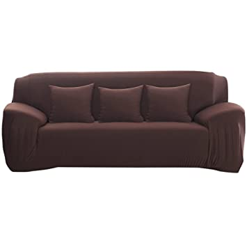 Attractive Stretch Sofa Covers 3 Seater Fabric Slipcover Protector Couch Slipcover  Chocolate