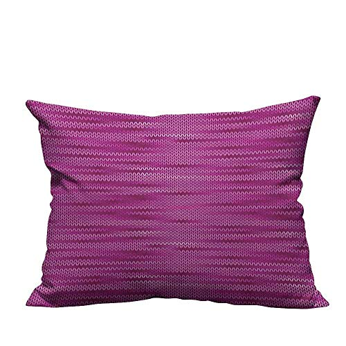 alsohome Decorative Throw Pillow Case Gradient Old Knit Pattern Creative Melange Wool Textured Nostalgic Art Hot Pink Purple Cotton Linen Durable11x19.5 inch(Double-Sided Printing)