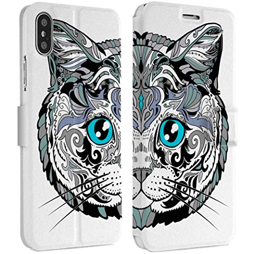(Wonder Wild Tribal Cat iPhone Wallet Case X/Xs Xs Max Xr Case 7/8 Plus 6/6s Plus Card Holder Accessories Smart Flip Hard Design Protection Cover Tattoo Kitten Animals Fluffy She)