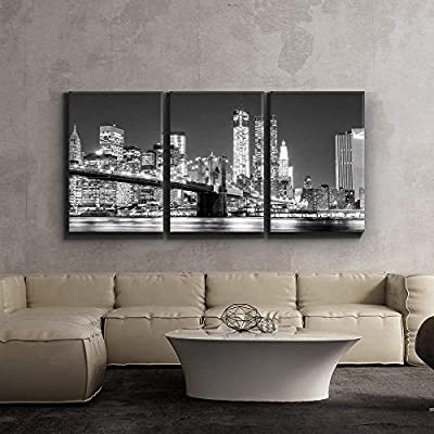3 Piece Canvas Print - Contemporary Art, Modern Wall Art - Black and White Manhattan Skyline and Brooklyn Bridge - Giclee Artwork - Gallery Wrapped Wood Stretcher Bars 24