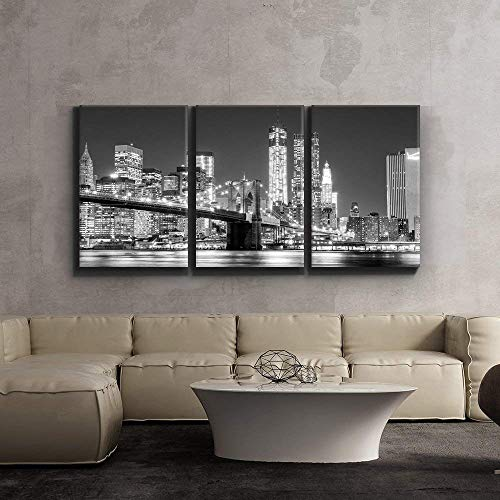 Print Contemporary Art Wall Decor Black and White Manhattan Skyline and Brooklyn Bridge Artwork Wood Stretcher Bars x3 Panels