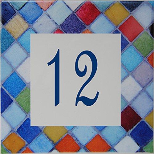 Azul'Decor35 Via figura in ceramica - 10,8x10,8x0,5cm - numero personalizzato via scelta!