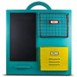 American Art Décor Wooden Teal Chalkboard Wall Organizer Home Storage For Sale