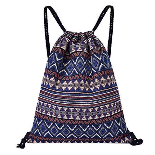 Women Printing Drawstring Fitness Sports Backpack, Bouquet Pocket Canvas Beach Bag,13.1''x0.4''x15.4