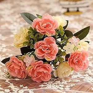 CATTREE Artificial Roses Flowers, Plastic Plants Silk Fake Rose Wedding Bridal Bouquet Party Indoor Outdoor DIY Home Garden Verandah Office Table Centerpieces Arrangements Decoration 3