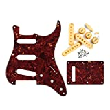 FLEOR 4Ply 8 Hole Vintage Guitar Pickguard Strat Style Back Plate with Cream Color 52/52/52mm Pickup Covers Knobs Tips for Guitar Parts, Red Tortoise inc. Screws