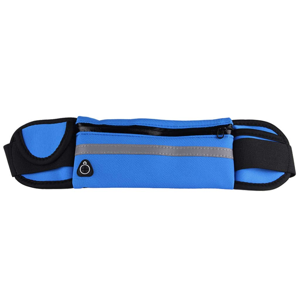 Pulison Running Pouch Belt Waterproof Sport Runner Waist Bum Bag Running Jogging Belt Pouch Zip Fanny Pack Length 70 cm to 115 cm for Men and Women (Dark Blue)