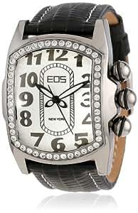 EOS New York Unisex 81LBLKSIL Vanguard Black Leather Strap Watch