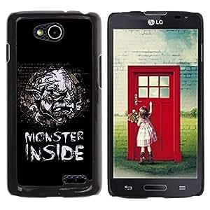 LASTONE PHONE CASE / Diseño de Delgado Duro PC / Aluminio Caso Carcasa Funda para LG OPTIMUS L90 / D415 / Funny Monster Inside Retro Vintage Poster