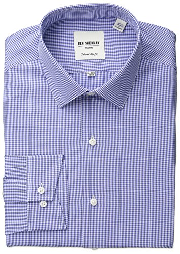 Ben Sherman Men's Slim Fit Gingham Dress Shirt, Blue, 15.5