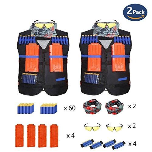 Clovertale 2 Pack Set Nerf Tactical Vest Kit For Nerf Gun Wars  N Strike Elite Jacket Kit With Target Pouch Storage  30 Refill Darts  Wrist Bands  Quick Reload Clip  Face Tube Mask  Protective Glasses