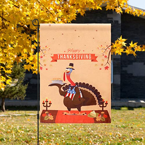 patekfly Thanksgiving Garden Flag Decorations - 18x12 Inch Size Turkey with Autumn Leaves Double-Sided Design Thanksgiving Yard Flag to Bright Up Your Garden