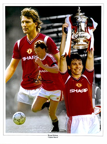 """Bryan Robson Manchester United Autographed 12"""" x 16"""" Montage Photograph - ICONS - Fanatics Authentic Certified"""