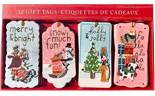 Puppy Christmas Gift Tags - Molly & Rex Cartoon Dogs Embellished 3D Christmas Gift Tags 14168, 12 ct
