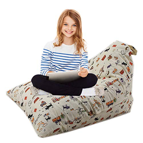alibalala Bean Bag | Stuffed Animal Storage Bag | Lounger Chair for Kids, Teens and Adults | Extra Large | 100% Cotton Premium Canvas 100 L / 26 Gal Cat ()
