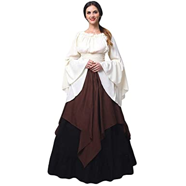 81ddf21657e Women Plus Size Maxi Vintage Renaissance Dress Ladies Long Sleeve Cascading  Ruffle Color Block Long Party Loose Dress  Amazon.co.uk  Clothing