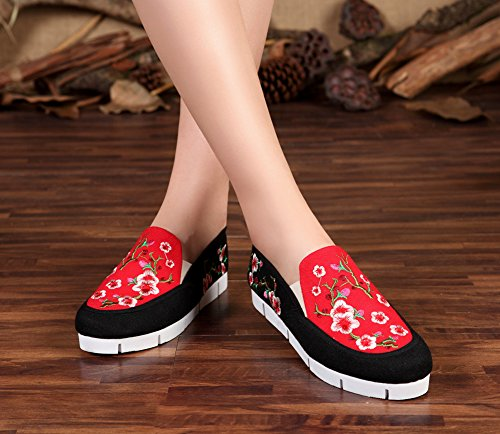 Avacostume Perzikbloesem Borduurwerk Multicolor Flats Witte Zool Loafer Schoenen Zwart