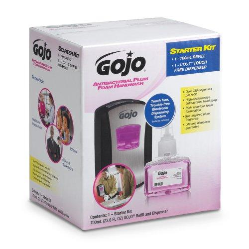 GOJO 1312-D1 2 Piece LTX-7 Antibacterial Foam Handwash Refill Dispenser Kit, Plum - Refill Skin Extract Moisturizer Pump