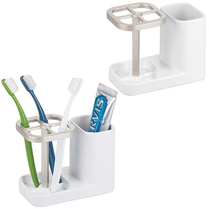 mDesign Juego de 2 porta cepillos de cerámica – Excelente soporte para cepillos de dientes para