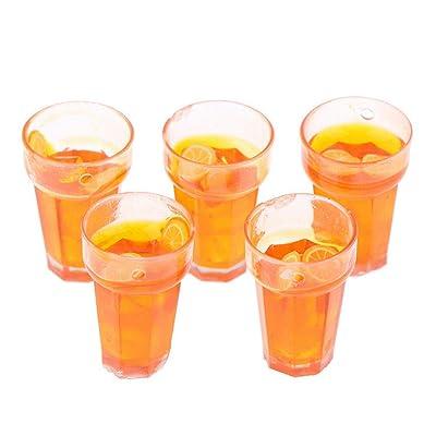 Acxico 5Pcs Mini Simulation Lemon Tea Cups 1:12 Dollhouse Miniature Food Accessories Doll House Drinks Model: Home & Kitchen