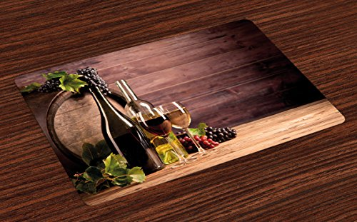 - Ambesonne Wine Place Mats Set of 4, Still Life of Wine with Wooden Keg Rustic Concept Tasting Viticulture, Washable Fabric Placemats for Dining Room Kitchen Table Decor, Green Brown