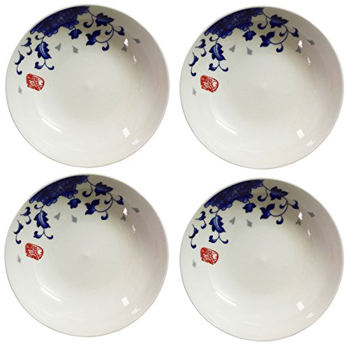 BandTie 4-Pack 4-Inch Small Size Round Plate Kitchen Dishes Chinese Jingdezhen Bone China Soy Sauce Dessert Plates Dish Fashion Creative Ceramics Tea Coffee Cup Saucer,Blue (Blue Peony Dinnerware)