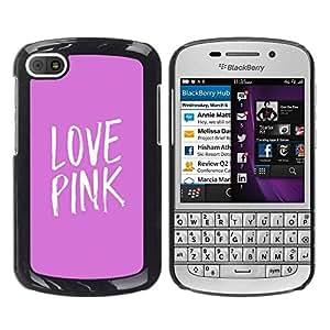 TopCaseStore / la caja del caucho duro de la cubierta de protección de la piel - White Text Minimalist Heart - BlackBerry Q10