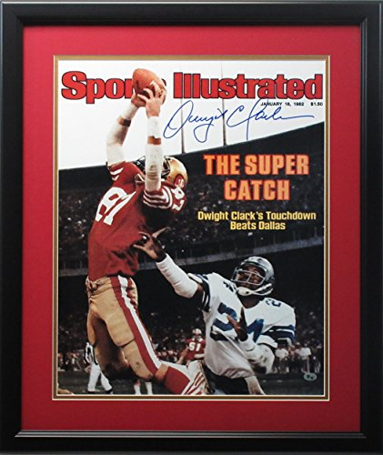 dwight-clark-autographed-photo-16x20-sports-illustrated-framed-autographed-mlb-photos