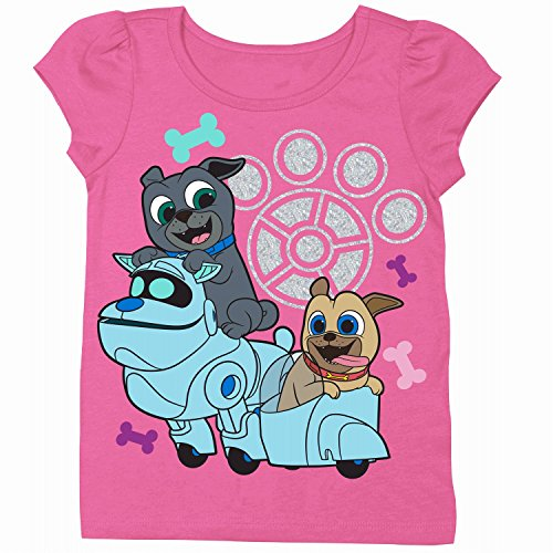 Disney Toddler Girls' Puppy Dog Pals Puff Short Sleeve T-Shirt, Hot Pink