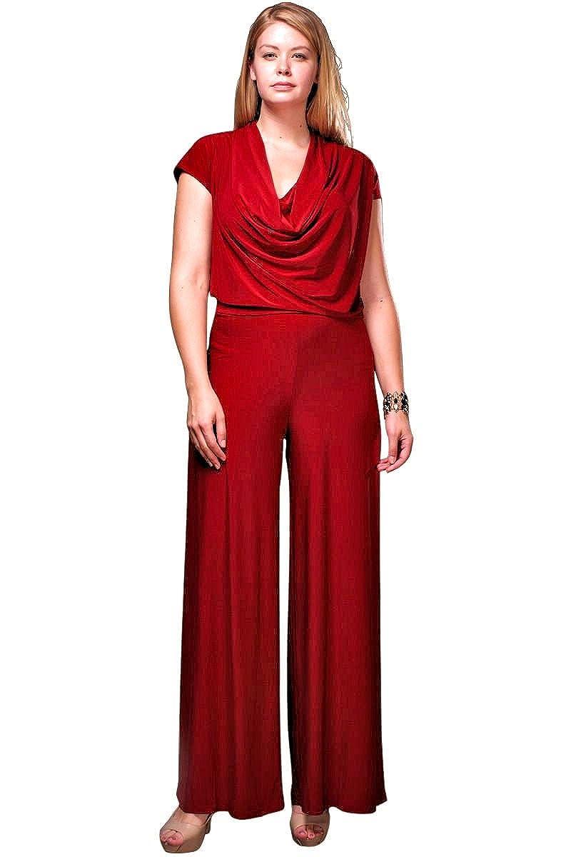 fd7067210a5 Amazon.com  Nyteez Women s Plus Size Cowl Neck Wide Leg Jumpsuit  Clothing