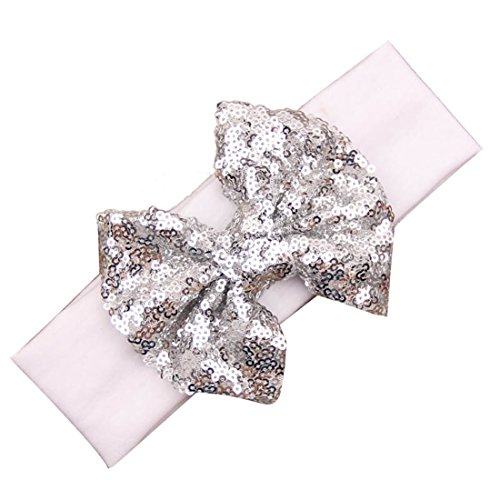 Voberry Baby Girls Photo Props Turban Cotton Sequins Bow Headband Soft Head Wrap (H)