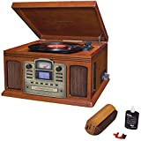 Crosley Director CD Recorder with Cassette & Record Player Paprika (CR2405C-PA) with RCA D4+ Vinyl Record Cleaning Fluid System