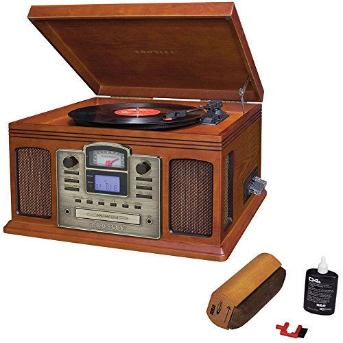Crosley Director CD Recorder with Cassette & Record Player Paprika (CR2405C-PA) with RCA D4+ Vinyl Record Cleaning Fluid System (Cassette Rca Player)