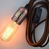 Fantado Modern Metal Copper Pendant Light Lamp Cord w/ Braided...