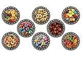 Set of 8 Cereal Killer themed bottle cap magnets.