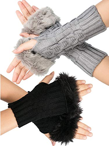 Zhanmai 2 Pairs Women Lady Winter Wrist Gloves Faux Fur Knit Fingerless Gloves Thumb Hole Gloves Mittens Crochet Knit Arm Warmers (Short and Middle Length Style)