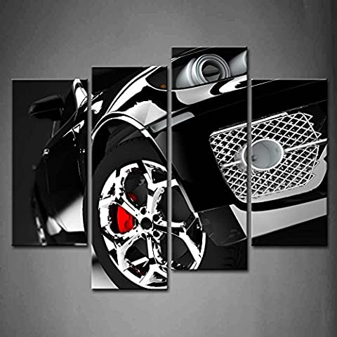 First Wall Art - 4 Panel Wall Art Black Cara Modern And Elegant Black Car Illuminated Painting The Picture Print On Canvas Car Pictures For Home Decor Decoration Gift piece (Stretched By Wooden Frame,Ready To (Marilyn Monroe Bedroom Theme)